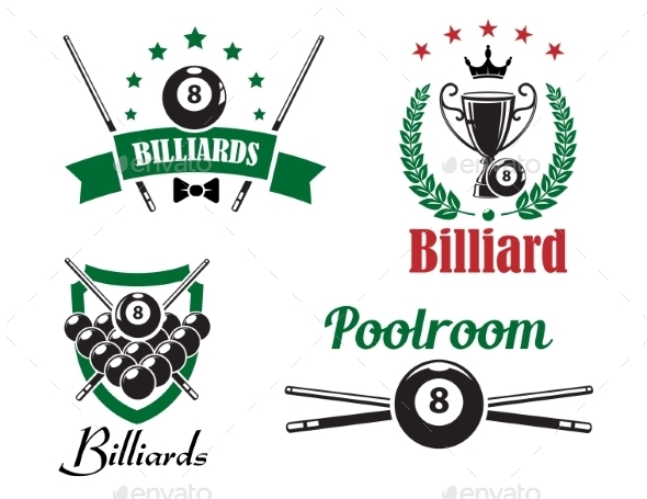 GraphicRiver Billiards and Poolroom Emblems 9965803