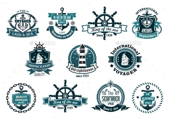 GraphicRiver Dark Blue Nautical Labels 9965807