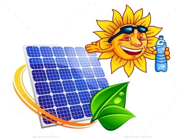 GraphicRiver Solar Panel with Cartoon Sun Eco Concept 9965814