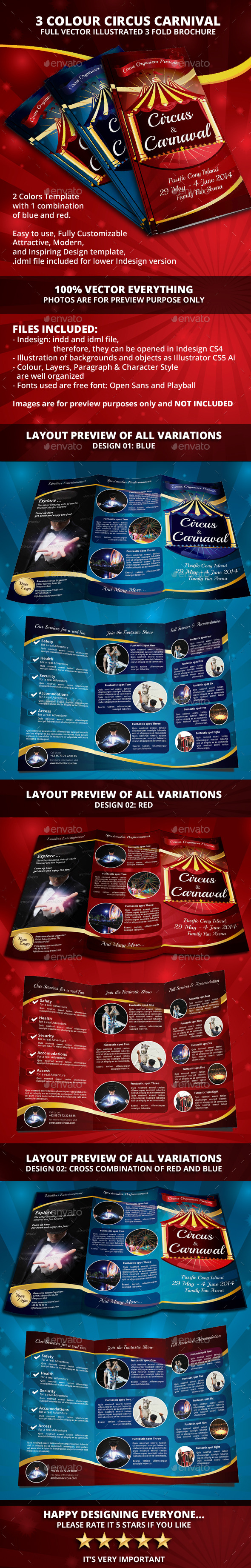 GraphicRiver Circus Carnival 3 colour Trifold Brochure 9966224