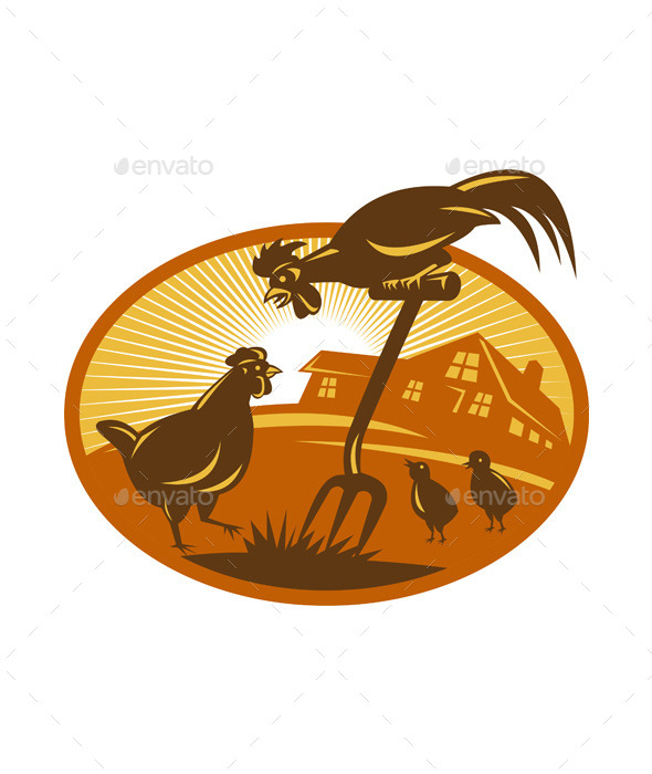 GraphicRiver Rooster Retro Emblem 9966242