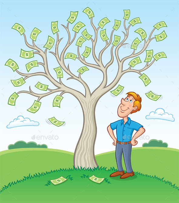 GraphicRiver Man Standing Beside a Money Tree 9966245