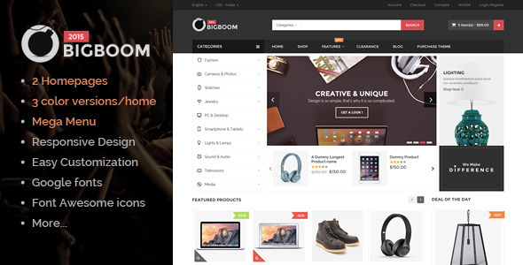 Overview Bigboom – MultiStore Responsive Magento Themes is a the best design magento 2015 with 2 layout homepage and 6 skin color. If you want to have a v