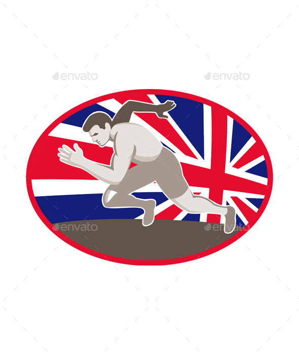 GraphicRiver Runner Track and Field Athlete British Flag 9966308