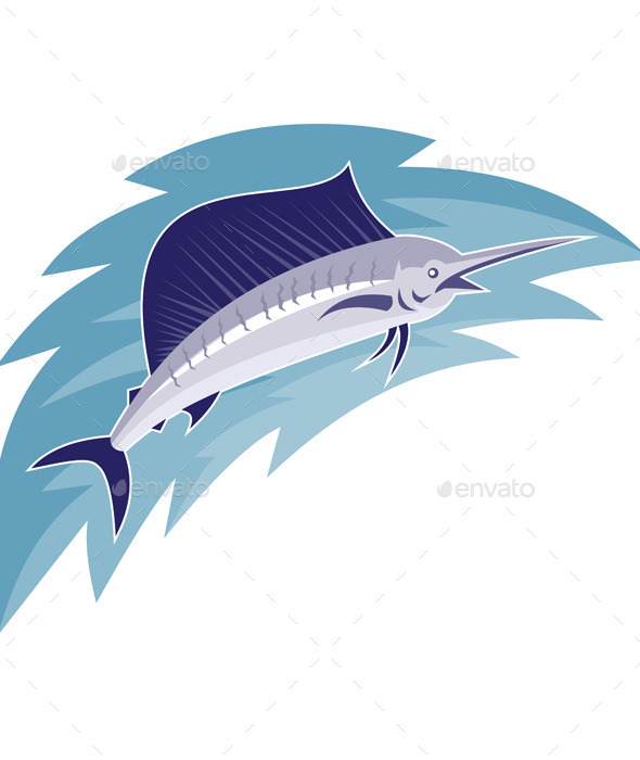 GraphicRiver Sailfish Jumping Retro Style 9966312