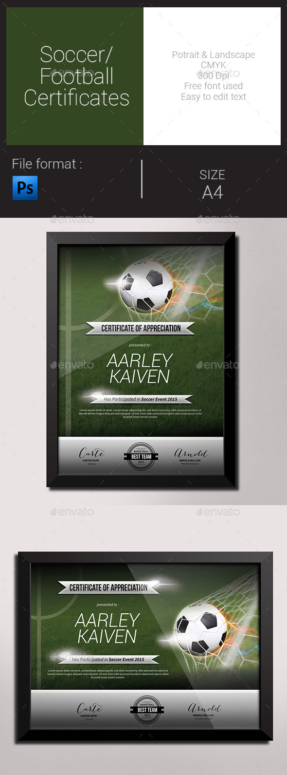 GraphicRiver Soccer Football Certificates 9966317