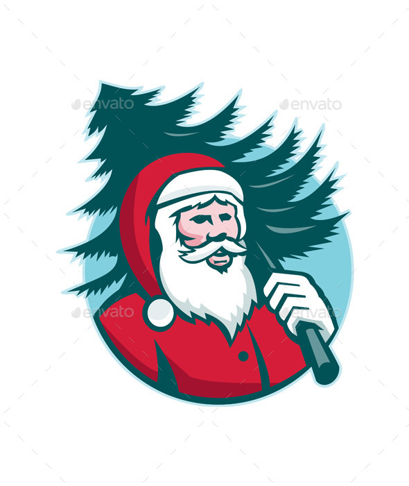 GraphicRiver Santa Claus Carrying Christmas Tree Retro 9966327