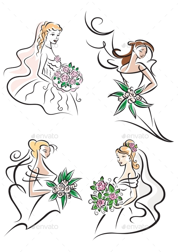 Bride with Bouquet Icons
