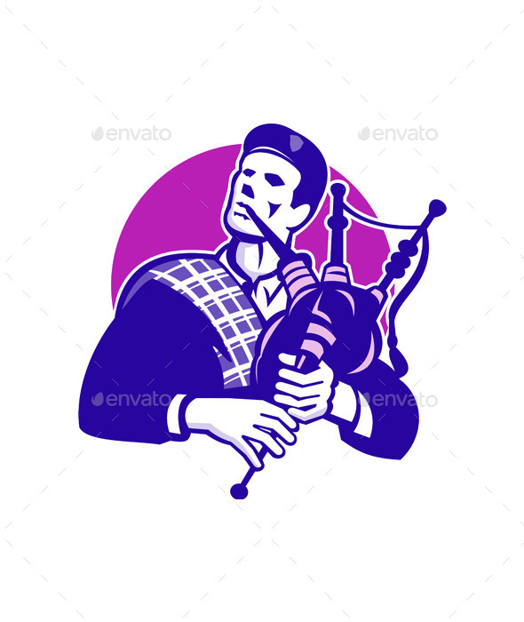 GraphicRiver Scotsman Scottish Bagpiper Playing Bagpipes 9966331