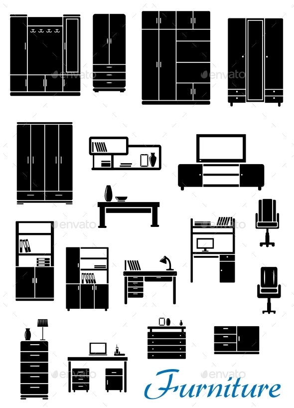 GraphicRiver Black Wooden Furniture Icons 9966340