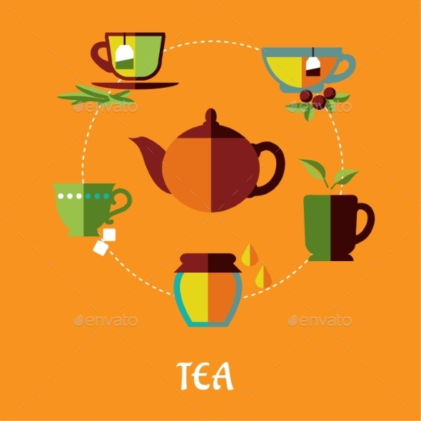 GraphicRiver Tea Flat Concept 9966354