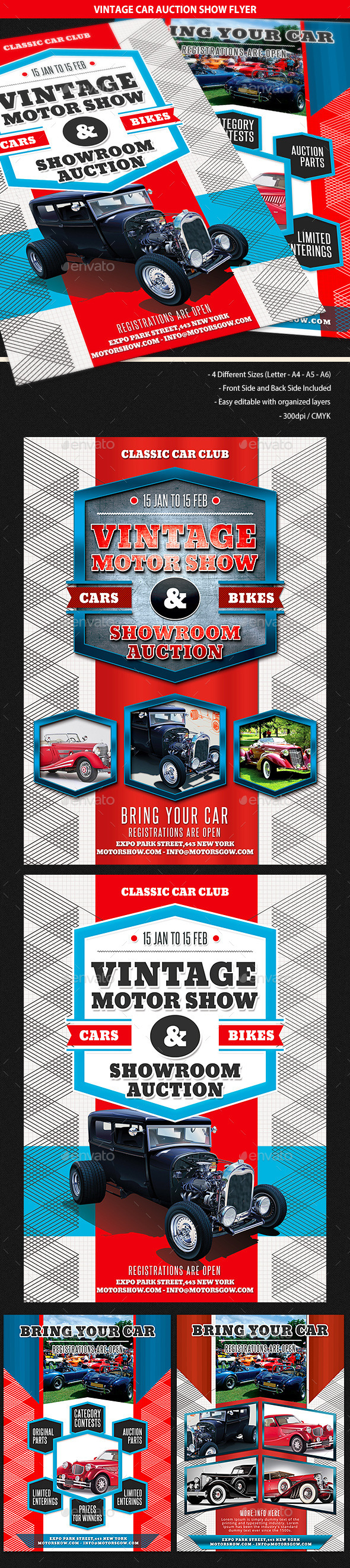 GraphicRiver Vintage Car Auction Show Business Flyer 9966469