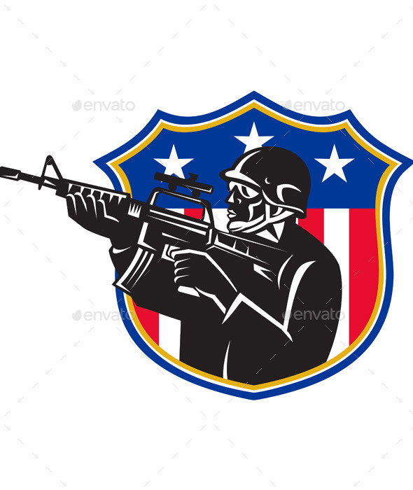 GraphicRiver Soldier Swat Policeman Rifle Shield 9966514