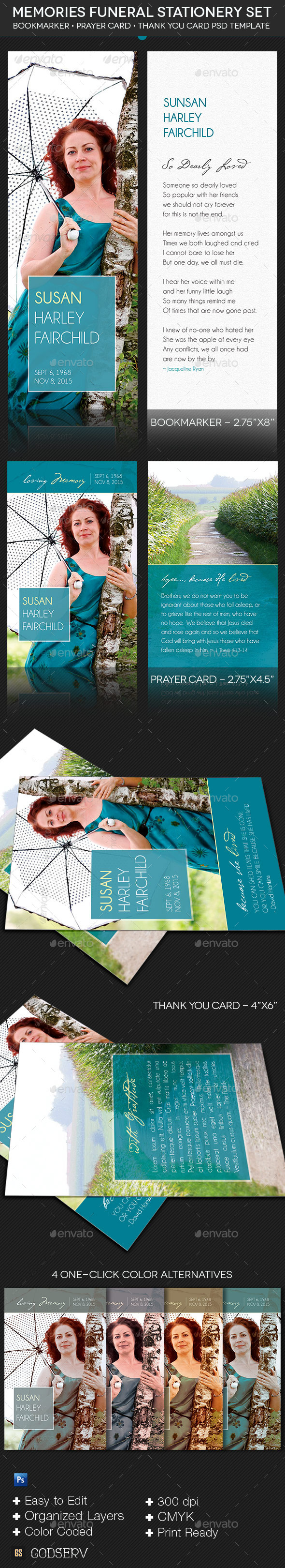 GraphicRiver Memories Funeral Stationery Template Set 9966829
