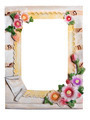 Plaster frame for photo with flowers isolated on a white background - PhotoDune Item for Sale