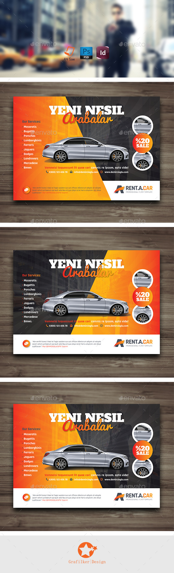GraphicRiver Rent A Car Flyer Templates 9967186