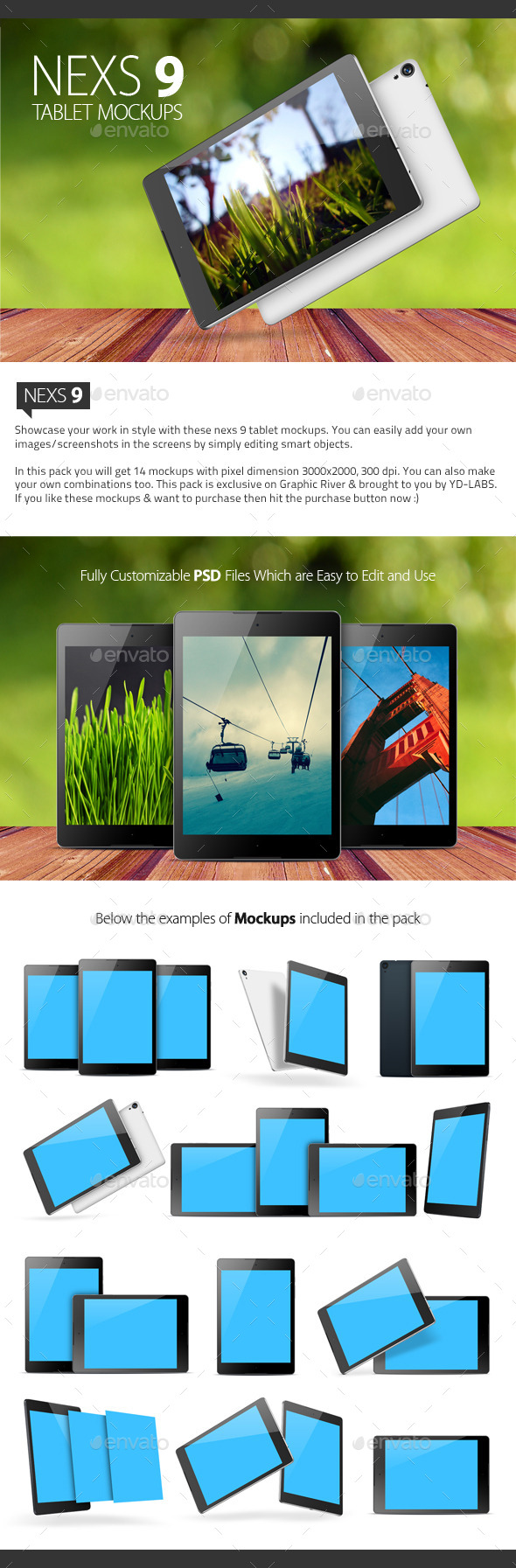 GraphicRiver Nexs 9 Tablet Mockups 9967217