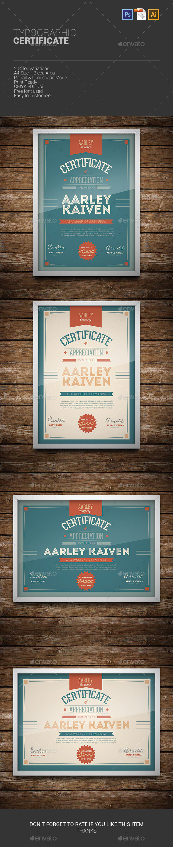 GraphicRiver Typographic Certificate 9967310