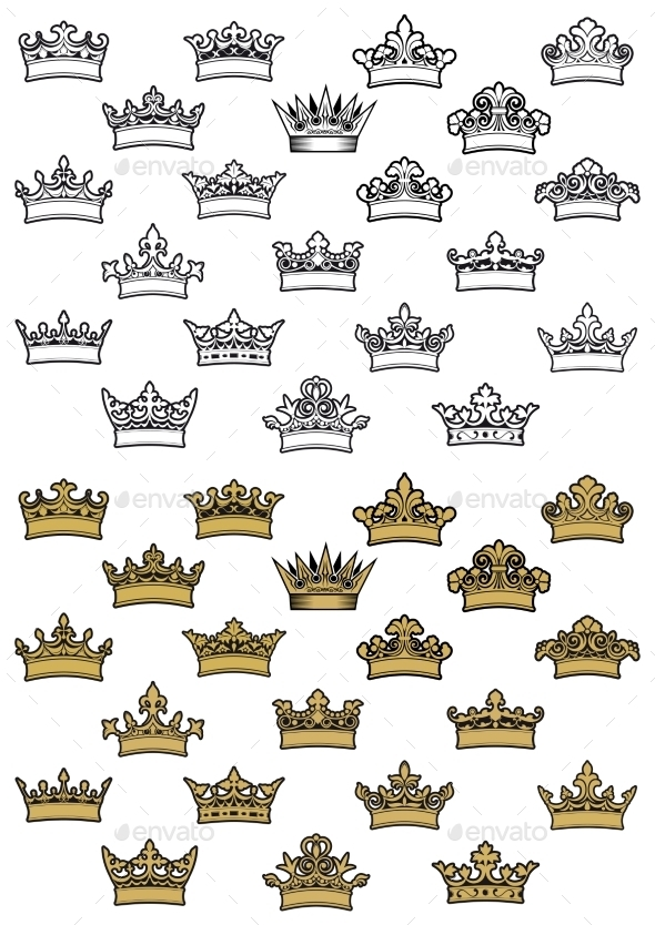 GraphicRiver Antique Crown Icons 9967427