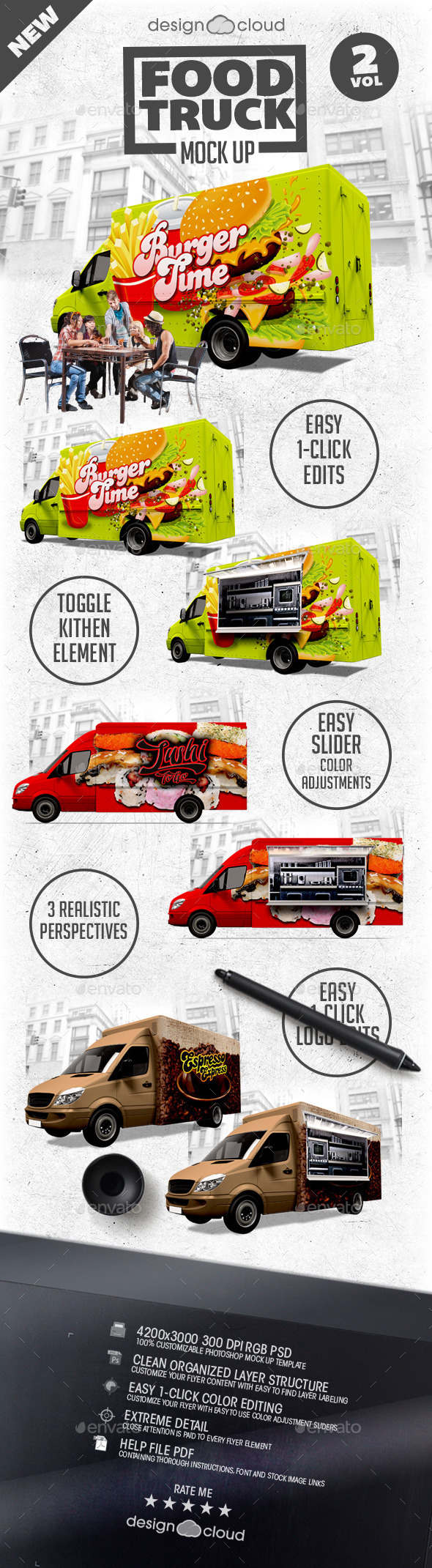 GraphicRiver Food Truck Mock Up Kit Vol 2 9967534