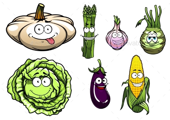 GraphicRiver Cartooned Squash Asparagus Garlic Kohlrabi Cabbage 9967585