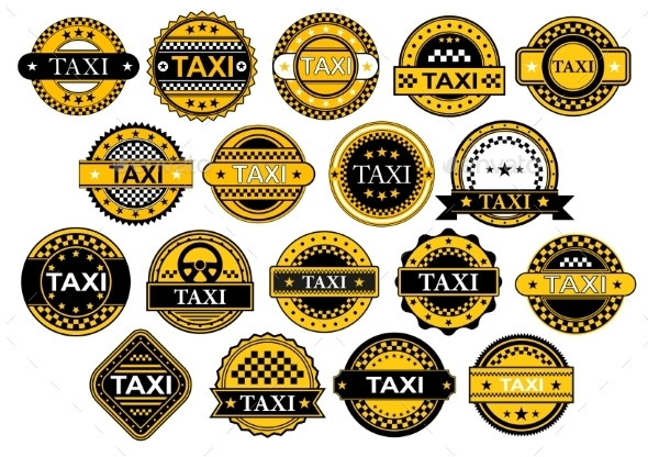 GraphicRiver Taxi Labels in Retro Style 9967594
