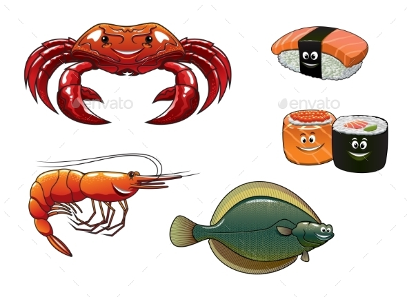 GraphicRiver Seafood Cartoon Characters 9967605