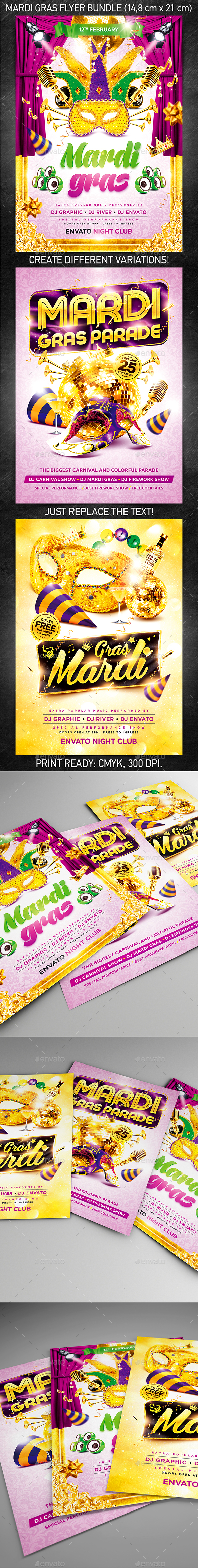 GraphicRiver Mardi Gras Party Flyer Bundle 9968007
