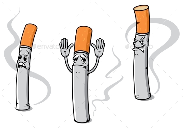 GraphicRiver Cartoon Cigarette Characters 9968012