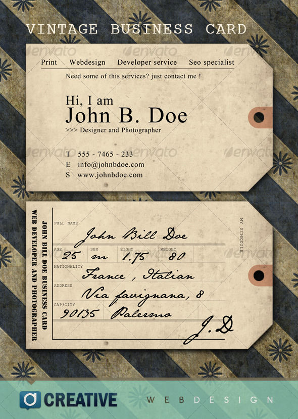 Vintage ticket Business Card - Retro/Vintage Business Cards