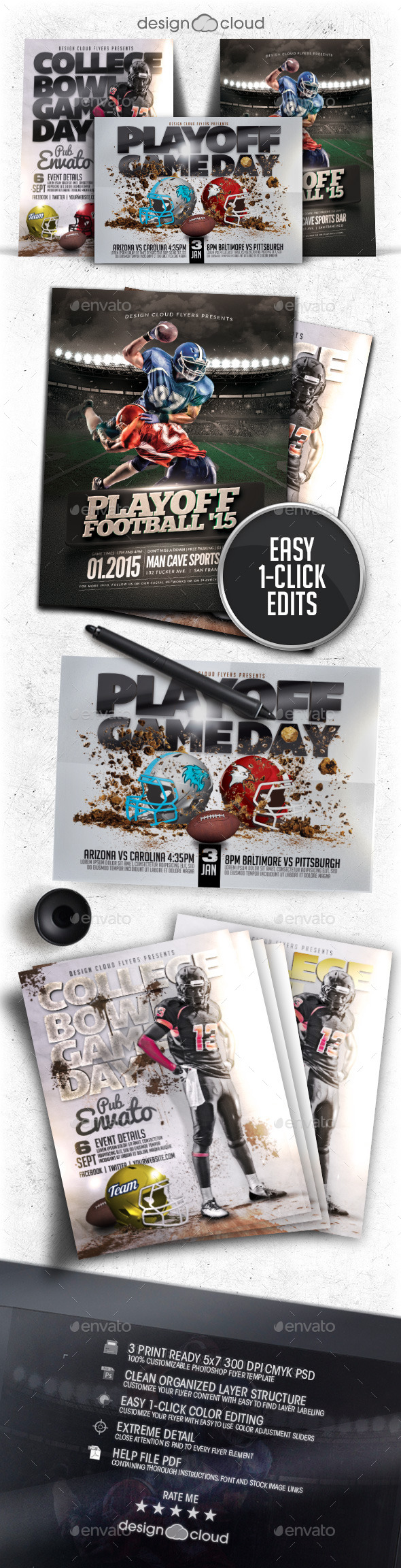 GraphicRiver Playoff Football Flyer Poster Template Bundle 9968289