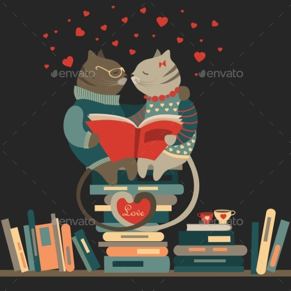 GraphicRiver Cats Reading Book 9968317