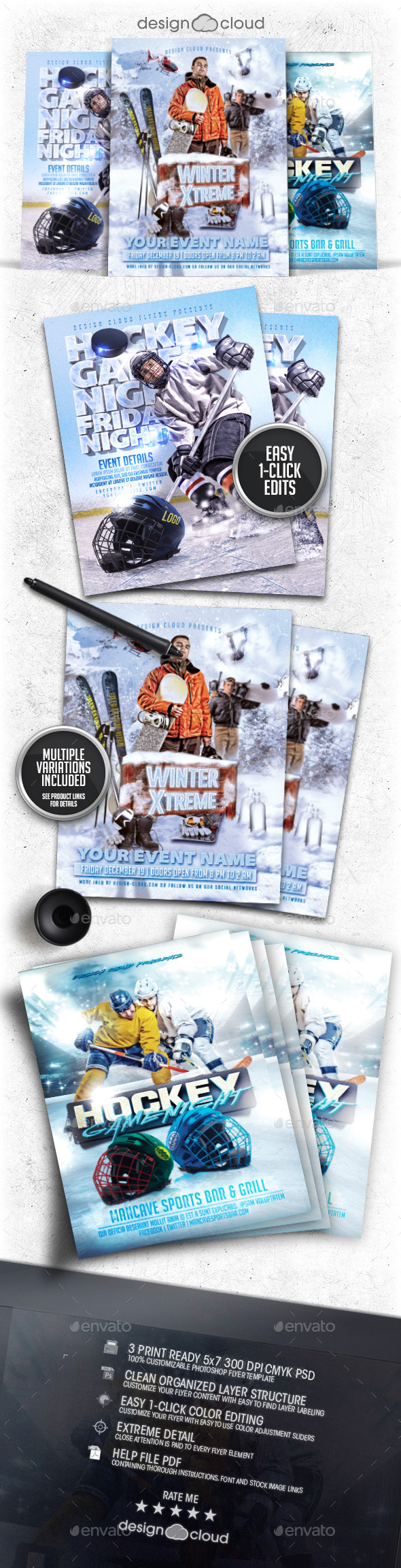 Winter Sports Flyer Poster Template Bundle Vol 2
