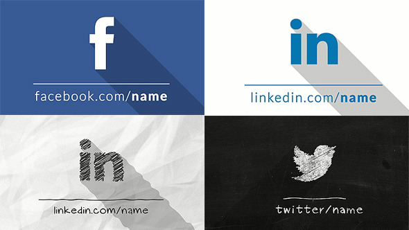 Social Icons Transformation With Long Shadow