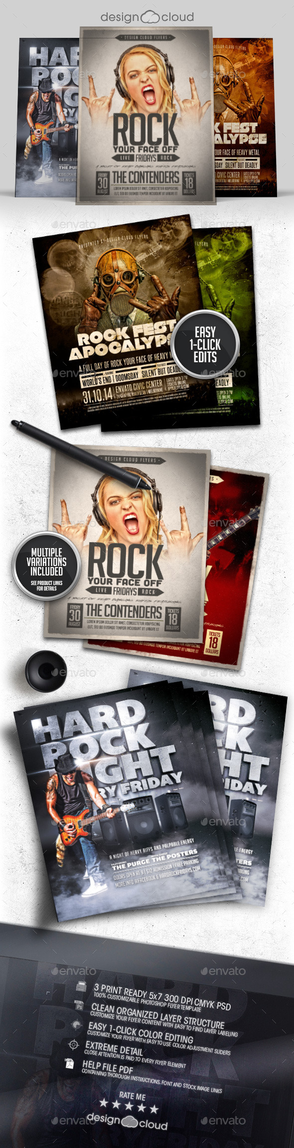 GraphicRiver Rock-n-Roll Flyer Poster Template Bundle 9973079
