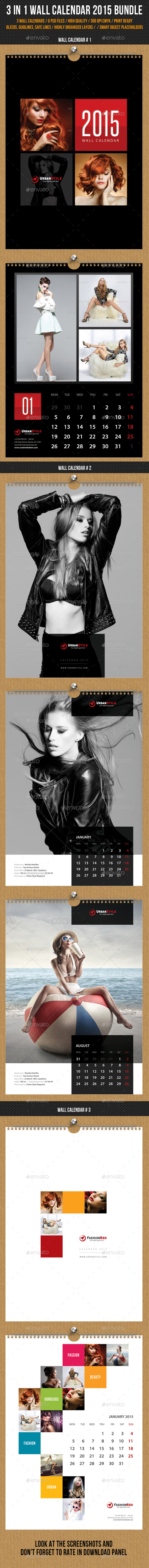 GraphicRiver 3 in 1 Wall Calendar 2015 Bundle V10 9973576