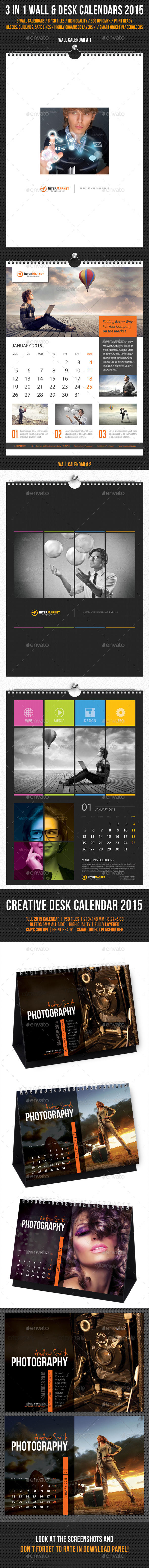 GraphicRiver Wall and Desk Calendar 2015 Bundle 9975304