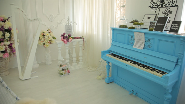 White Room with Blue Piano