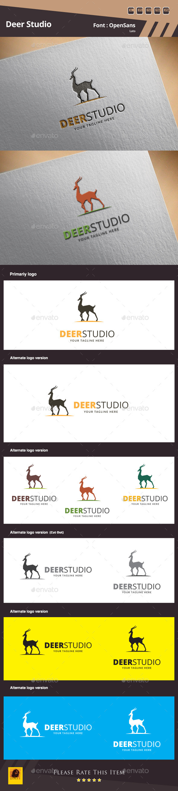 GraphicRiver Deer Studio Logo Template 9976338
