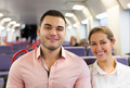 Man and woman travel in train - PhotoDune Item for Sale