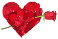 Heart from petals with red rose love topic on Valentine's and mothers day