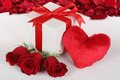 Gift box with heart and roses for birthday, Valentine's or mother's day