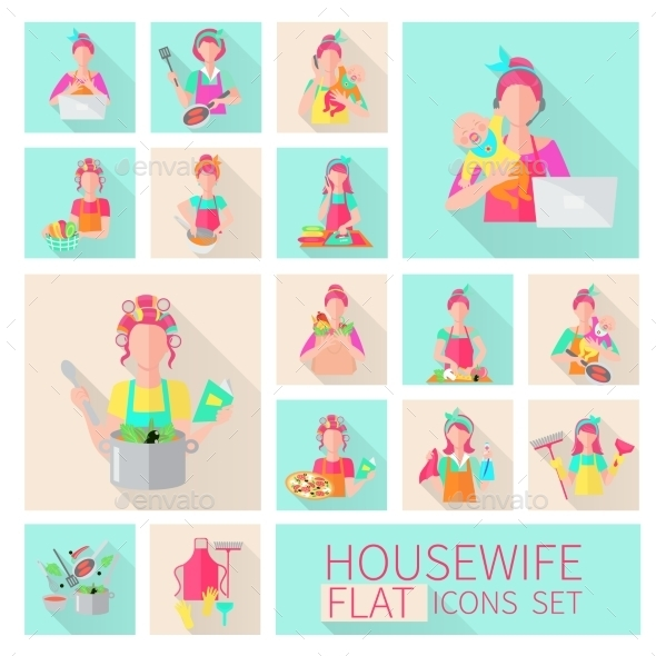 GraphicRiver Housewife Flat Set 9979032