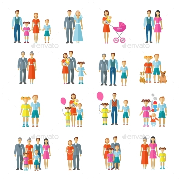 GraphicRiver Family Icons Flat 9979052