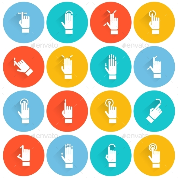 GraphicRiver Hand Touching Screen Flat Icon 9979114