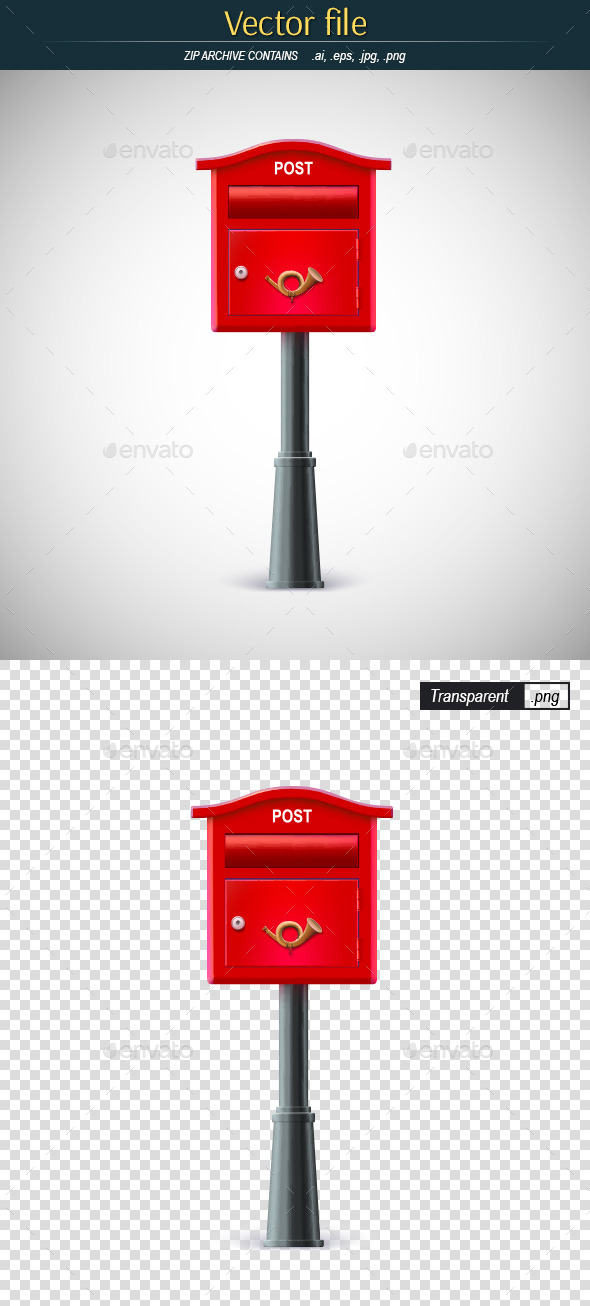 GraphicRiver Classic Red Mail Box on a Pole 9979334