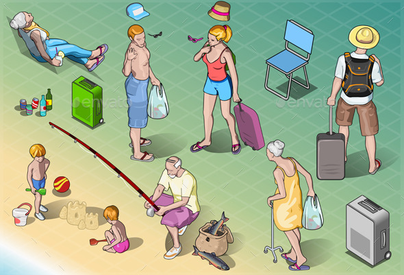 GraphicRiver Isometric Tourists Peoples Set in Vacation 9980453