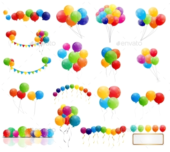 GraphicRiver Color Glossy Balloons Mega Set Vector Illustration 9980538