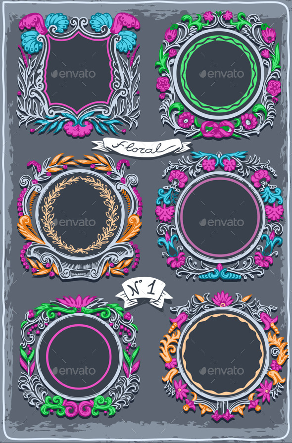 GraphicRiver Set of Six Vintage Graphic Colored Garlands 9980583