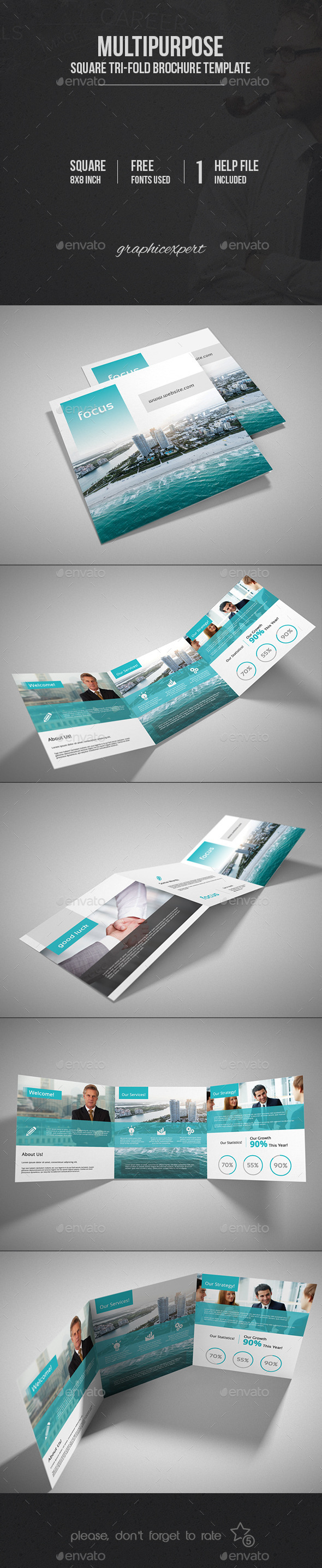 GraphicRiver Square Tri-Fold Brochure Multipurpose 9980599